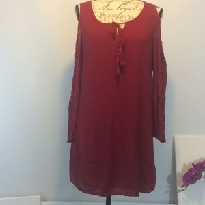 Flying Tomato Boho Cut out Sleeves Red Dress